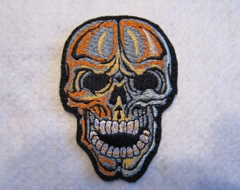 Embroidered Sugar Skull Iron On Patch, Day Of The Dead, Skull, Skeleton, Iron On Patch, Iron On Applique