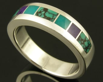 Man's sterling silver ring inlaid with spiderweb turquoise, sugilite and gem silica