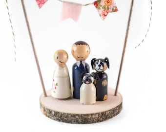 Rustic Wedding Cake Topper with Dogs, Custom wedding cake topper with 2 dogs, cake topper with pets, dog cake toppers, cake topper with dogs