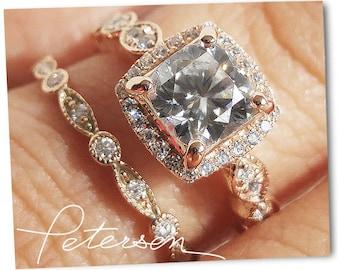 1.8 ct. Wedding Ring Set Gold wedding sets Gold Ring Engagement Ring Diamond Simulant Ring Cubic Zirconia Gold Ring - Halo Engagement Ring