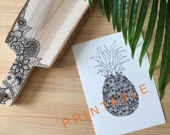PRINTABLE pineapple pattern black and white