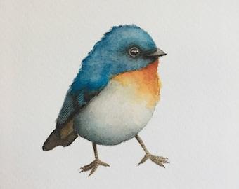 "Watercolor Blue Bird Gicleé Print on Watercolor Paper 5 x 7"""