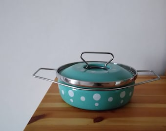 Pot, casserole, metal terrine, enamelled, blue polka dots, retro, Cathrineholm style