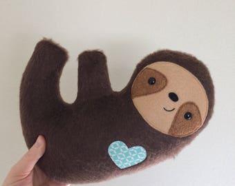 Furry Cuddly Sloth - Mint Geometric Heart - READY TO SHIP