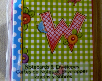 """Mary & Co. Notecards and Envelopes with Monogram of """"W"""""""