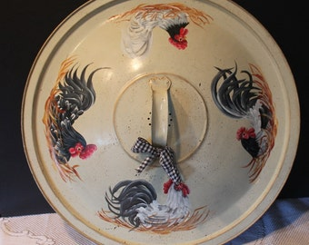 Vintage Upcycled Dough Pan Roosters and Hens....Hand Painted....Country Decor...Home Decor...Country Home...Country Kitchen