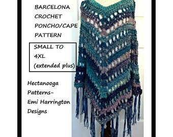 CROCHET PONCHO CAPE Pattern, All sizes from small to 4XL extended plus size, very easy, 5 hour project, #2186