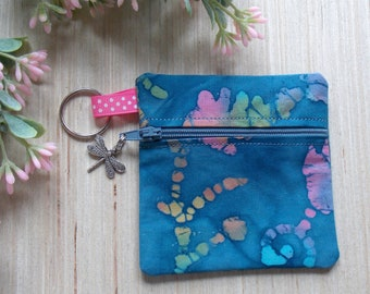 Blue Batik Ear Bud Case - Ear Bud Holder Case - Batik Earphone Case - Batik Coin Purse
