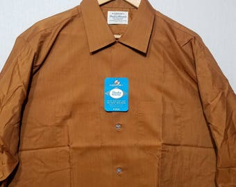NOS / 1960s Shirt / XL / Sharkskin / Shimmery / Rockabilly / Loop Collar / New Old Stock / Deadstock / 1960s Mens Fashion / 1950s Shirt
