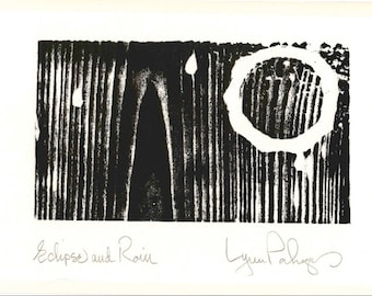"Original Design Woodcut Print ""Eclipse and Rain"" Greeting Card with Envelope, Hand Pulled, Open Edition"