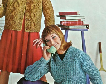 Vtg '60s Knitting Pattern Book~DRESSES+SWEATERS+JACKETS+Suits~Bulky Mod Retro