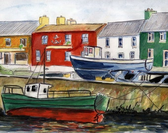watercolour fishing village quayside counted cross stitch needlepoint for DMC see description for other floss brands pdf digital download