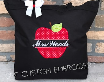 Personalized Split Apple Teacher Tote Bag