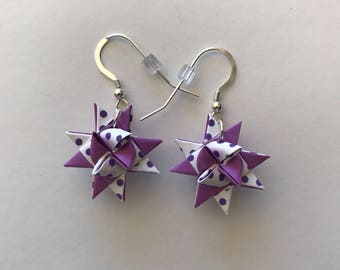 Moravian Star Earrings—Purple & Polka Dots