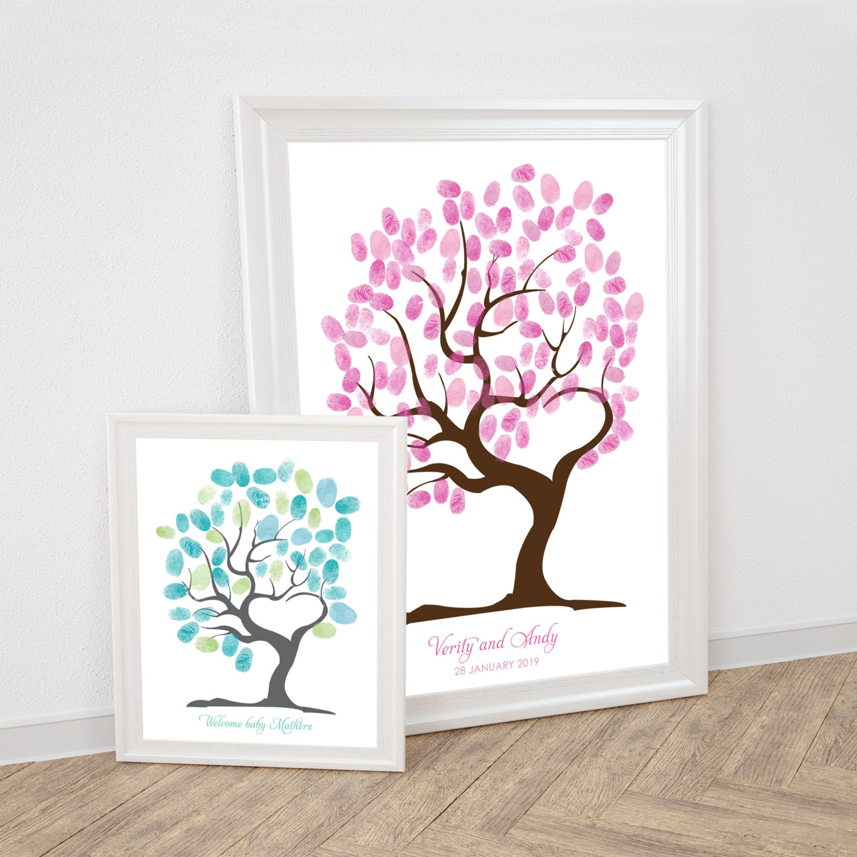 tree of love fingerprint guest book printable wedding thumbprint tree baby shower tree heart shaped tree love romantic guestbook alternative