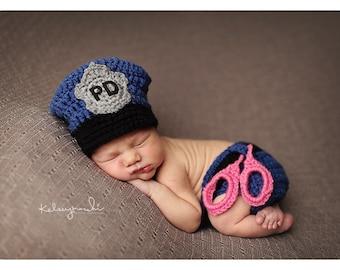 Newborn Baby Girl, Police Officer Hat, Handcuffs, Custom Made to Order