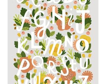 A3 Floral Alphabet print