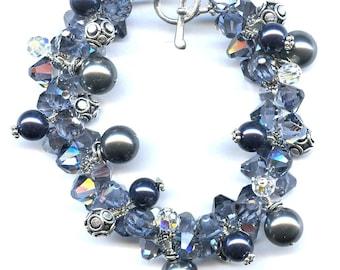 Dark Grey And Midnight Blue Swarovski Pearl Sterling Silver Bracelet FD508