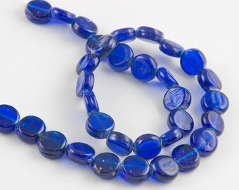 10mm Vibrant Cobalt Blue Recycled Glass Flat Coin Beads - 15 inch strand - 34 pieces