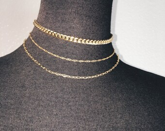 Dainty Gold Chain Choker Set, Gold Curb Link Chain Choker, Dainty Sparkle Chain, Dainty Open Link Chain Necklace, 14kt Gold Plated Brass