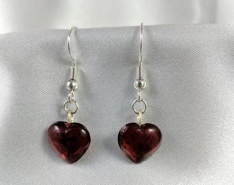 Glass heart earrings #247