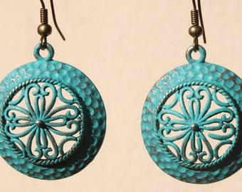 Turquoise Earrings Boho Earrings Dangle Drop Earrings Jewelry Patina Earrings Bohemian Earrings Birthday Gift For Her Gift for women