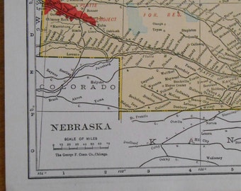 Vintage map of Nebraska, Old 1920s small size antique US state map by G F Cram