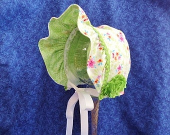 Spring Baby Bonnet Flowers Reversible to Green