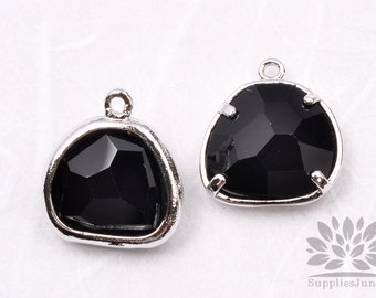 F119-01-S-BL // Silver Framed Black Glass Stone Pendant, 2Pcs