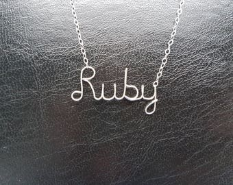 "Sterling Silver Name Necklace ""Ruby"" Personalised Necklace Custom Name Necklace Word Sterling Silver Word Necklace Wire Name Necklace"
