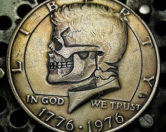 Kennedy Half Dollar Skull Hobo Nickel. These are not carved yet & are made when Ordered!