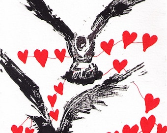 Gift Idea, Ravens with Hearts, Art Print reproduced from original Block Print