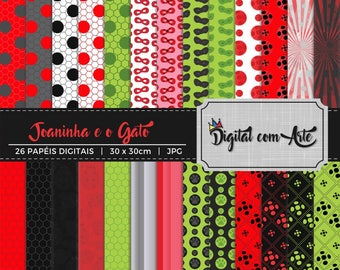 50% OFF - Ladybug and the Cat Digital Paper