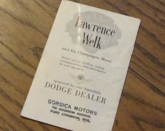 Lawrence Welk and his Orchestra 1950's Advertisment Pamphlet