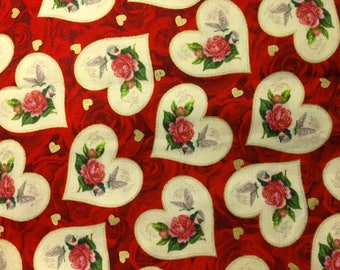"Vintage Valentine Hearts Cotton Fabric ~ 44"" x 22"" remnant"