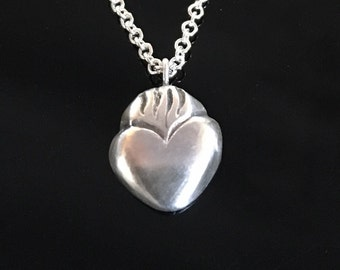 Sacred Heart Pendant, Milagros heart, flaming heart, charm, sterling silver, tiny, handmade