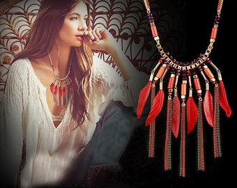 Boho Feather Statement Necklack