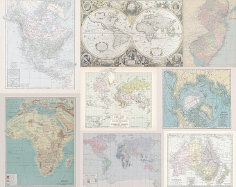 Fabric Yardage - pastel Instant Quilt with many maps - yardage of Antique and Vintage World Map fabric - Cheater Fabric