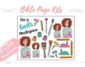 """She Is """"God's Masterpiece"""" Bible Page Kit. Great for 100 days of Bible Promises or any journaling Bibles! Digital, printable stickers."""