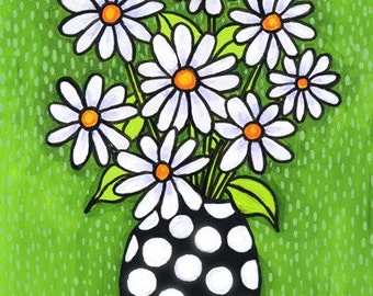 Daisy Bouquet, polka dot vase, Shelagh Duffett Print