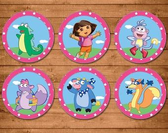 Dora The Explorer Cupcake Toppers Pink - Dora Birthday Party Toppers - Dora The Explorer Party Favors - Dora The Explorer Birthday Printable