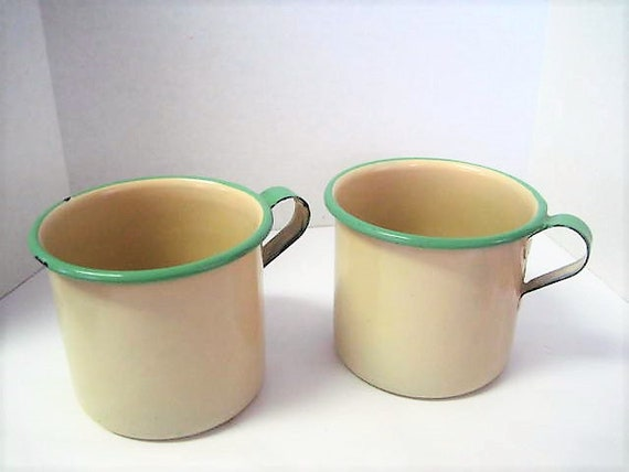 Enamelware Green Mugs,  Set of 2, Green Edge, Cream Body, 40's Pattern, Farmhouse Cups