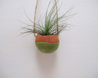 Terracotta hanging planter pot vase with bright green glaze - perfect for air plant, succulent or cactus