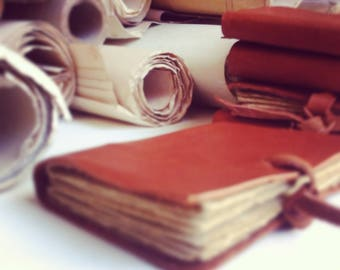 Set of 5 mini leather journals, brown