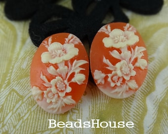 66-00-CM  4pcs (18 X 25mm) Beautiful Floral Cabochon Cameo-Ivory /Coral
