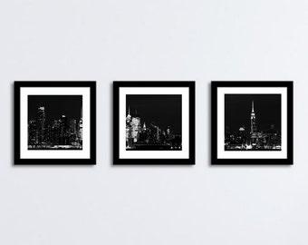 Good Night New Yoker - New York Skyline  NYNY Big Apple Empire State Building Skyline NYC night Fine Art Print set of three or your choice