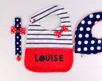 Bavoir personnalisable prénom bébé Louise bavoir original brodé cadeau naissance baptême bavoir marin rouge bleu marine blanc fille