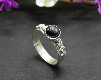Natural Black Onyx Round Gemstone Ring 925 Sterling Silver R084