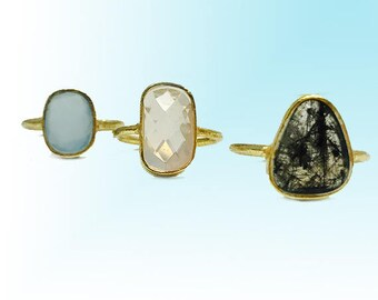 Stacking Rings / Rose Quartz, Rutilated Quartz and Chalcedony Rings/ Gemstone Rings/ Gold Stackable Rings/Minimal Ring