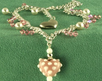 Handmade Pink Heart Charm Anklet on Silver Chain